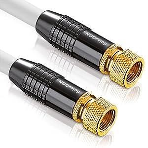 deleyCON [10m] SAT Antennenkabel PREMIUM HDTV FullHD Satellitenkabel - Koaxialkabel - F-Stecker zu F-Stecker - METALL - vergoldet 100dB 75Ohm