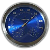 """Ambient Weather WS-208TBH 9"""" Brushed Aluminum Traditional Thermometer with Barometer and Humidity, Metallic Radiant Blue"""