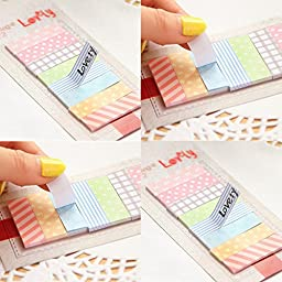 ADB Inc 4 Pack (640 Pages) Cute Kawaii 160 Pages Sticker Post It Bookmark Point It Marker Memo Flags Sticky Notes Scrapbooking Sticker Paper
