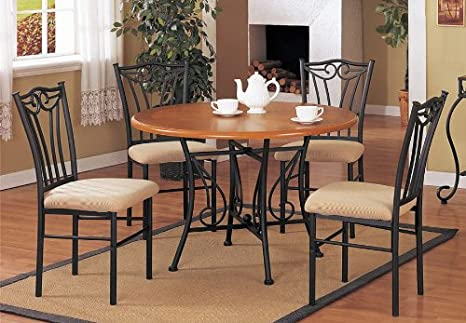 5pcs Black Metal Dining Table And Chairs Set