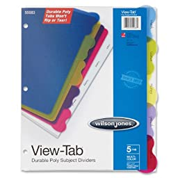 Wilson Jones View-Tab Transparent Dividers 5-Tab Student Index (W55083)