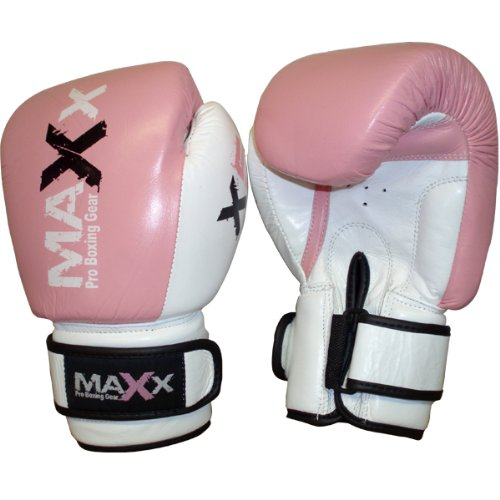 MAXX Pro Fight Leather Boxing Gloves Punch Bag Pink 6oz -12oz