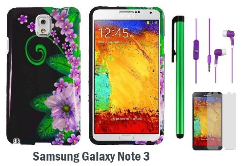 Black Green Pink Flower Premium Pretty Design Protector Hard Cover Case For Samsung Galaxy Note 3 / Note Iii + Screen Protector Film + 3.5Mm Stereo Earphones + 1 Of New Metal Stylus Touch Screen Pen