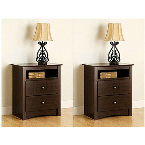 2 Pack Nightstand 2 Drawer Tall Espresso Wood With Open Shelf front-849812
