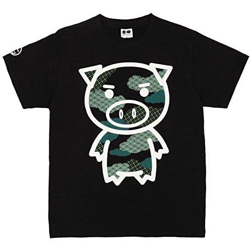 (ブーテンショウテン)BUDEN SHOTEN 豊天商店 雲和柄美豚半袖Tシャツ BU1152010  19 漆黒 LL