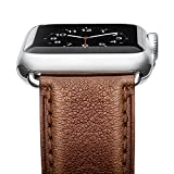 Apple Watch Band, Benuo [Vintage Series] Premium Genuine Leather Strap, Classic Bracelet Replacement with Secure Metal Buckle, Adapters for iWatch Series 2/Series 1/Edition/Sport 42mm (Dark Brown)