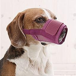 Petmuch Adjustable Pink Nylon Mesh Dog Grooming Muzzle Anti Bites Bark Medium