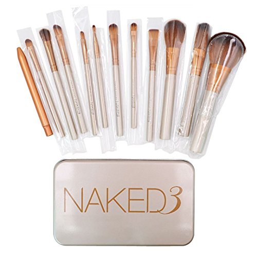 Mily 12Pcs Synthetic Makeup Brush Set Cosmetic Brushes Gold Wooden Handle with a Box