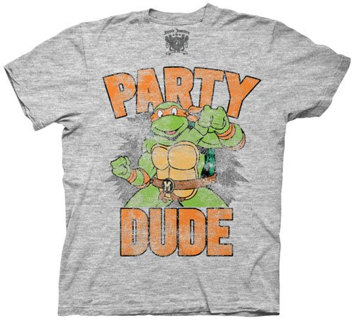 TMNT Teenage Mutant Ninja Turtles Party Dude Gray T-shirt Tee