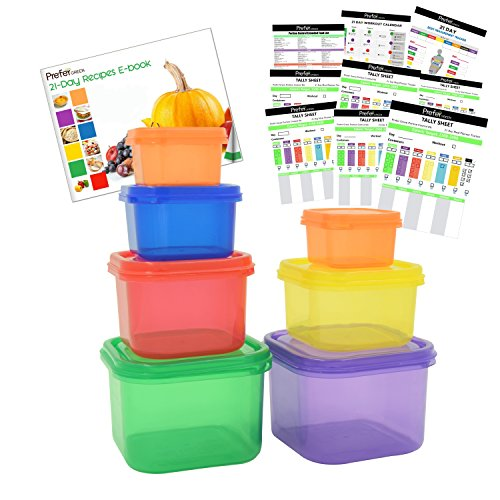 Prefer Green 7 Piece Portion Control Containers Kit (with COMPLETE GUIDE & 21 DAY DAILY TRACKER & 21 DAY MEAL PLANNER & RECIPES PDFs) ,Multi-Color Coded System (Food Containers For 21 Day Fix compare prices)