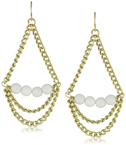 K. Amato Stone and Chain White Drop Earrings