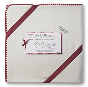 SwaddleDesigns Organic Ultimate Receiving Blanket, Natural with Color Trim, Strawberry