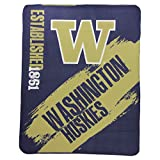 "NCAA Collegiate School Logo Fleece Blanket (Washington Huskies, 50"" x 60"")"