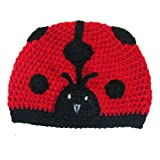 Girls Soft Crochet Ladybug Beanie Winter Hat Cap - Great for Christmas Holiday Gift Giving Stocking Stuffers for Toddlers to Older Girls