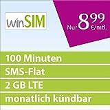 winSIM LTE Mini SMS 2GB [SIM, Micro-SIM und Nano-SIM] monatlich kündbar (2 GB LTE mit max. 50 MBit/s, 100 Frei-Minunten, SMS-Flat, 8,99 Euro/Monat, 15ct pro Folgeminute) O2-Netz