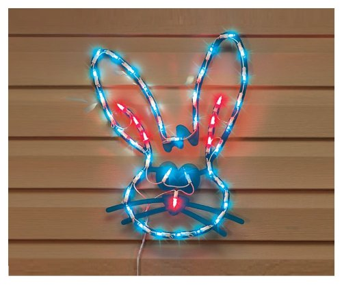 Lighted bunny face easter window decoration new home for Outdoor seasonal decorations