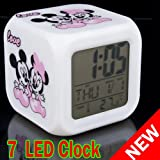 Cute 7 LED color Mickey Mouse LCD screen Digital Alarm colorful clock