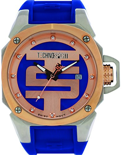 technosport-ts-102-4-womens-royal-blue-silicone-band-gold-bezel-40mm-blue-and-gold-dialstainless-ste