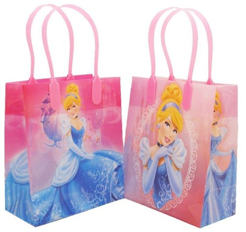 Disney Princess Cinderella Small Plastic Goodie Gift Favor Treat Tote Bags (12ct)