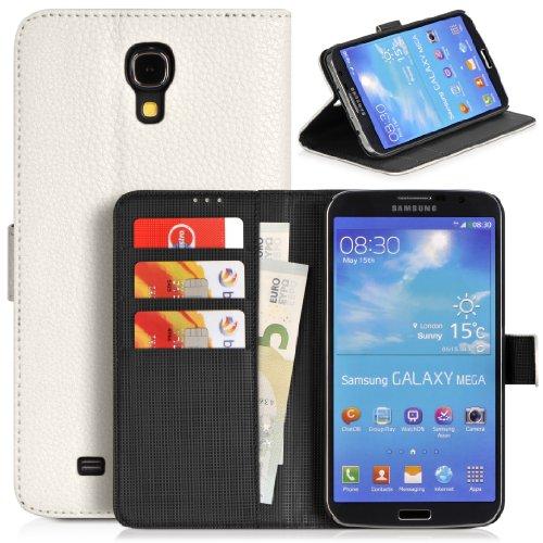 Donzo Wallet Structure Plus Tasche für Samsung Galaxy Mega 6.3 GT-I9200/GT-I9205 mit Kreditkartenfächer und Standfunktion weiß