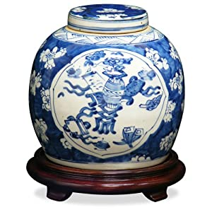 Porcelain Ginger Jar - Blue and White Floral