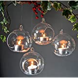 Crazy Sutra Glass Tealight Candle Holders _transparent 4pc Borosil - Medium With 4 Tealight