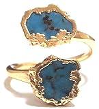 LUXDIVINE ( ラックスディバイン ) アメリカ デザイナー ハンドメイド ターコイズ 友情の石 ラップ リング 日本 サイズ 約 16 号 ~ 17 号 ( USA サイズ 7.5 ) Turquoise Wrap Ring 39 トルコ石 ゴールド トルコストーン rings 海外 ブラン