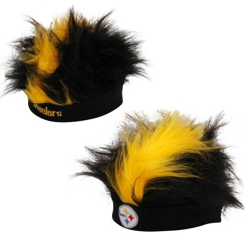 NFL Pittsburgh Steelers Fuzzy Head Wig, 10.5-Inch x 6-Inch, Black at Steeler Mania