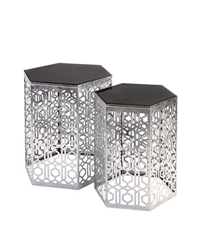 Nikki Chu Set of 2 Lancaster Silver Mirror Table