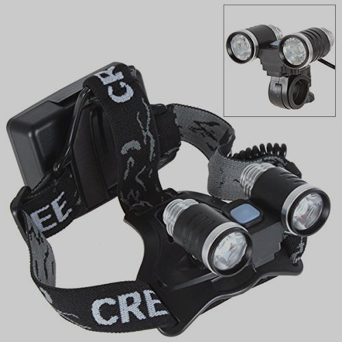 On The Way® Multi-Function 2 In 1 Super Bright 2 X Cree Xm-L L2 Led 5 Modes 3000Lm Headlamp & Bicycle Light With Adjustable Base 18650 Rechargeable Batteries Cree Led Lamp Headlight &Bike Light With Ac Charger (2 X 18650 Batteries Included)