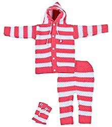 Kuchipoo Baby Girls Regular Fit Sweater Set (Pink, 0-6 Months)