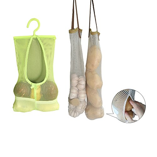 TuuTyss Set of 5 Reusable Hanging Storage Mesh Bag Vegetable Bag for Fruit,Garlics,Potatoes,Onions or Garbage Bag-Clear,Green (Onion And Garlic Storage compare prices)
