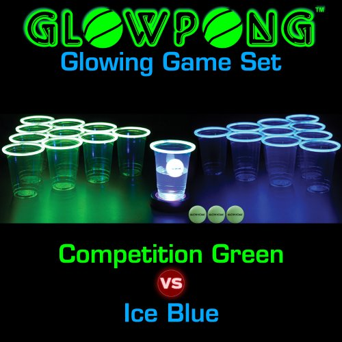 GLOWPONG Glowing Game Set - Competition Green vs Ice Blue (100 Beer Pong Balls compare prices)