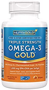 Omega-3 Fish Oil - NutriGold Triple Strength Omega-3 Gold, 180 Softgels - 1000 mg EPA + DHA with 85% Omega-3s in 1,250 mg Liquid Capsules, Molecularly Distilled Fatty Acids, Pharmaceutical Grade Pills That Are NOT Enteric Coated for Best Absorption But Still Guaranteed Burpless and Odorless - IFOS 5-Star Certified, ConsumerLab Approved, and Ranked #1 by LabDoor in Comparison of Top 50 Fish Oil Supplements
