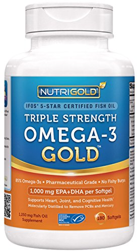 Nutrigold Triple Strength Omega-3 Gold Fish Oil Supplement, 1250 mg, 180 Softgels