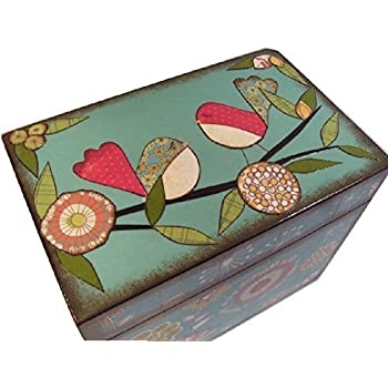 Recipe Box, Wood, Holds 4x6 Recipe Cards, Retro Mod Teal Bird, Decoupaged
