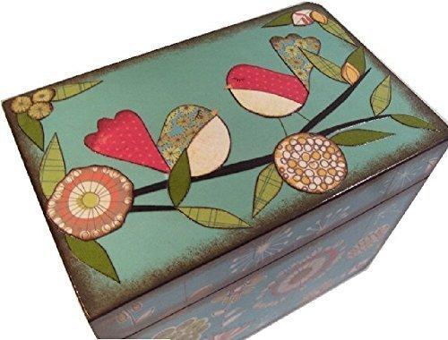 Recipe Box, Wood, Holds 4x6 Recipe Cards, Retro Mod Teal Bird, Decoupaged 0