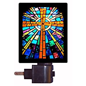 religious night lights on amazon com religious night light stained. Black Bedroom Furniture Sets. Home Design Ideas
