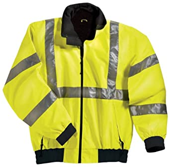 District Safety Jacket with Reflective Tape, Color: Lime Green/Black, Size: X-Large