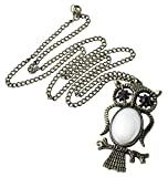Picture Of Trendy Bronze Owl with Acrylic Glass Pendant Copper-plated Metal Necklace 1pcs P1261 Review
