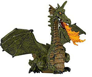 Tales & Legends - Winged Green Dragon With Flame - Hand Painted Figure - Papo