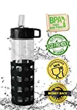 Glass Water Bottle With Straw from Exhilarate is Ideal for Staying Refreshed When Working Out or on the Go - 20 oz. in Size - Comes With a Flip Up Spout with Straw and a Silicone Sleeve for Grip - Spill Proof - Eco-Friendly - Money-back Guarantee