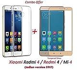#5: YuniKase Xiaomi Redmi 4 / Redmi 4 / Mi 4 / Redmi4 / Mi4 [May 2017 Release] (COMBO OFFER) Original Sleek Premium Clear Soft Back Cover Case For RedMi 4 -( Transparent ) + 2.5D curved 3D Edge to Edge Tempered Glass Mobile Screen Protector ( Gold ) BY YuniKase
