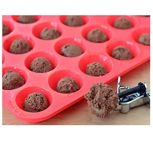 Silicone-Muffin-Pans-SySrion-Large-12-Cups-Cupcake-Pan-Mini-24-Cups-Muffin-Pan-Non-stick-Food-Grade-Silicone-Mold-Material-Dishwasher-Heat-Resistant-Tins-up-to-450F-Microwave-Safe-Red