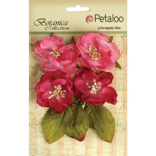Petaloo Botanica Blooms Decorative Flower, 2.25-Inch, Fuchsia, 4-Pack - 1