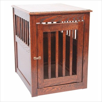 Oak End Table Pet Crate Medium Mahogany