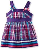 Youngland Baby-Girls Infant Sleeveless Gingham Seersucker With Bows at Shoulders, Purple/Multi, 24 Months