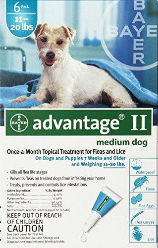 Bayer Advantage II, Medium Dogs, 11 to 20-Pound, 4-Month (Dog Advantage Flea compare prices)