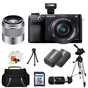Sony Alpha NEX-6 Mirrorless Digital Camera Kit with 16-50mm Zoom Lens & 50mm f/1.8 Telephoto Lens. Includes: 32GB Memory Card, Memory Card Reader, 2X Extended Life Replacement Batteries, 67