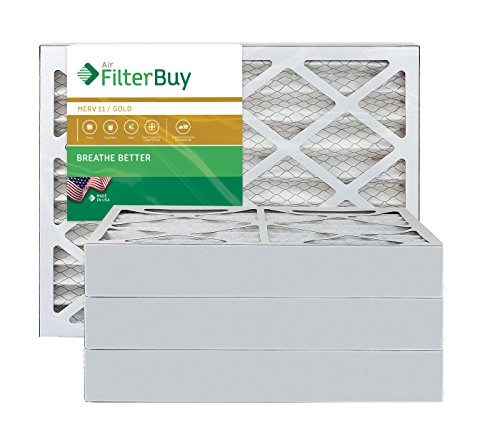 AFB Gold MERV 11 16x25x4 Pleated AC Furnace Air Filter. Pack of 4 Filters. 100% produced in the USA.